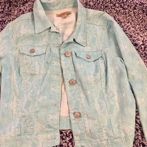 Vintage Nine West woman's teal and white jacket